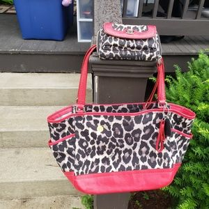 Coach ocelot purse and wallet